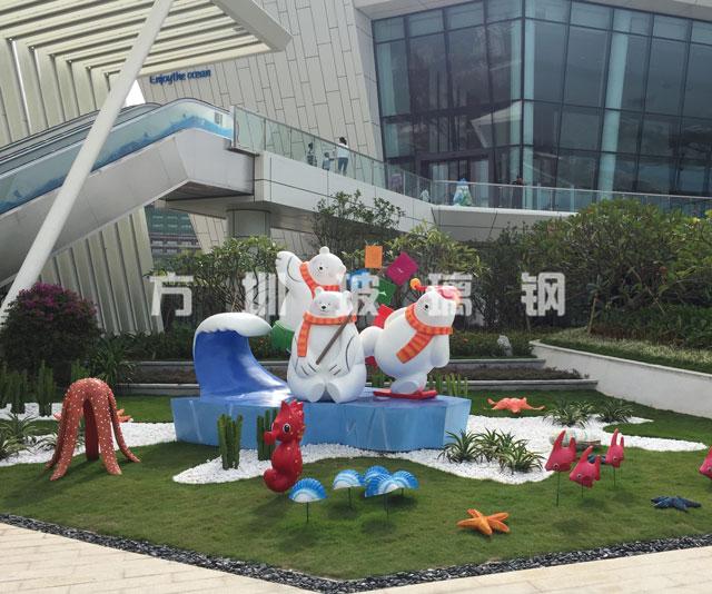 方圳玻璃钢北极熊主题雕塑