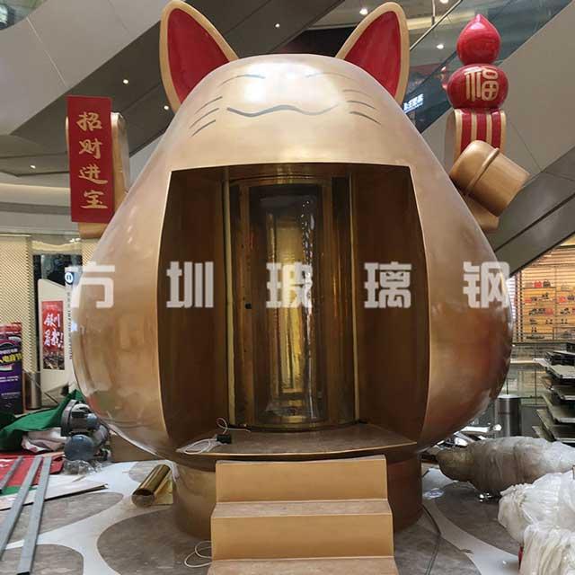 大型玻璃钢招财猫雕塑