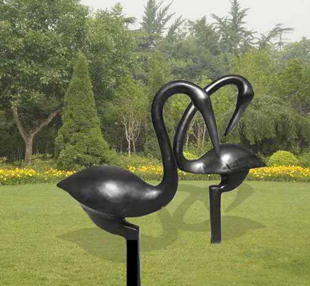 玻璃钢园林仿铜鹤雕塑