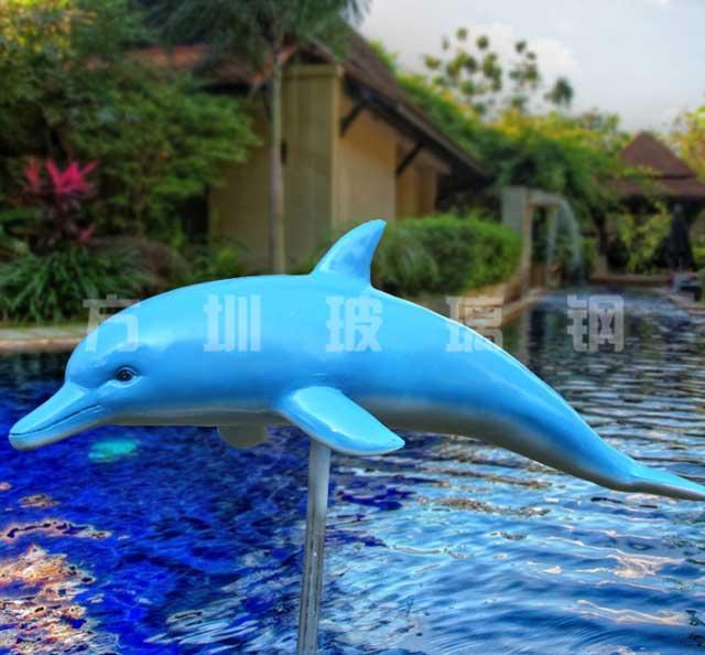 玻璃钢景观海豚雕塑