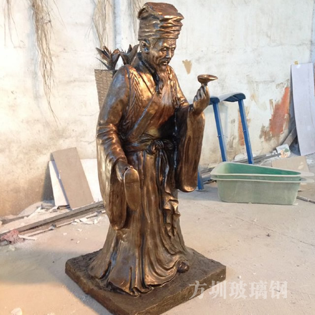 仿铜人物玻璃钢雕塑
