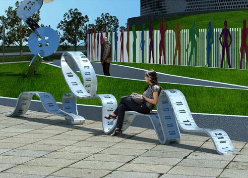 创意皮尺形玻璃钢凳子