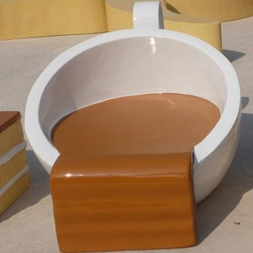 商场咖啡杯玻璃钢休闲椅