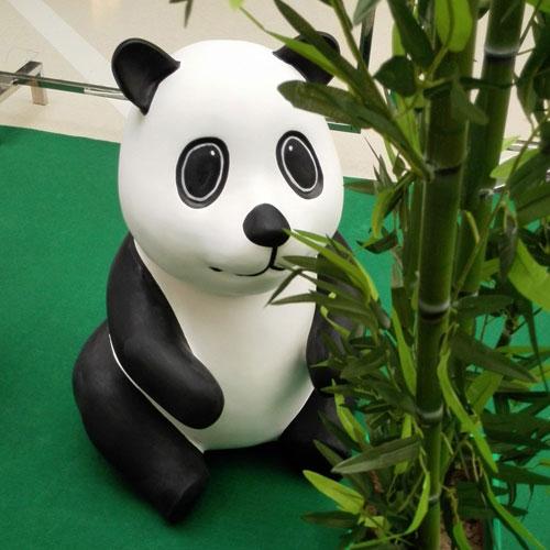 玻璃钢卡通熊猫雕塑