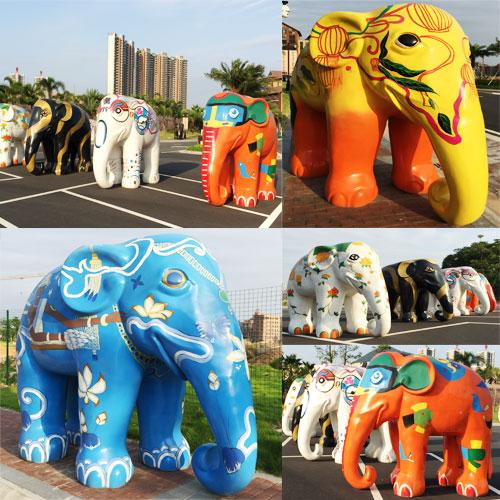 玻璃钢彩绘大象雕塑