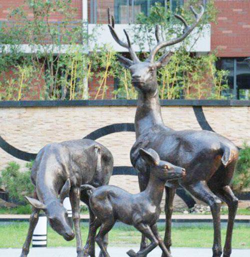 玻璃钢雕塑仿铜鹿组合