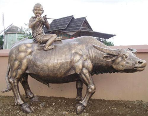 玻璃钢雕塑仿铜放牛娃