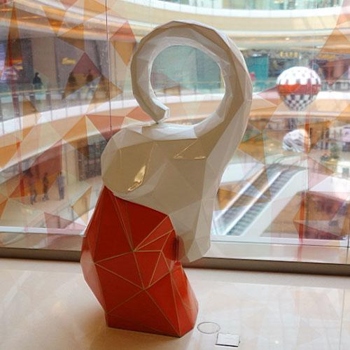 玻璃钢抽象小象雕塑