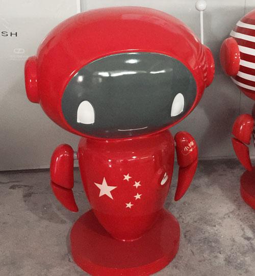 深圳玻璃钢红色公仔雕塑