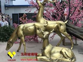 公园装饰鹿玻璃钢仿铜雕塑