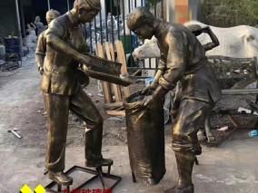 农村农民仿铜雕塑