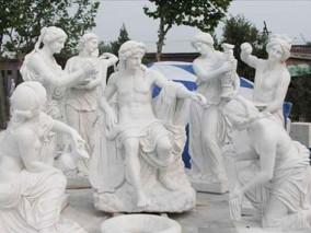 玻璃钢西方人物仿砂岩雕塑